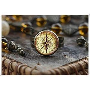 Kompass-Ring im Vintage-Stil, Kompassring, Kunstgeschenk für Damen und Herren, Kompass-Schmuck, kein echter Kompass, ein schönes Geschenk.