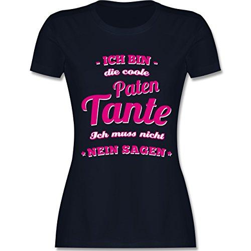Shirtracer Schwester & Tante - Ich Bin Die Coole Patentante - Damen T-Shirt Rundhals Navy Blau