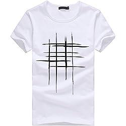 T-Shirts,Honestyi 2018 Klassisches Marine Streifen Basic T-Shirt Print Shirt Basic Crew Neck Tall & Slim Kurzarmshirt Sweatshirt Weste Tops, Weich und Luftig,Große Größe S-XXL (M, Weiß)