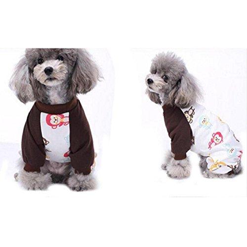 Hunde Kleidung, Transer® Cute Pet Puppy Hund Baumwolle Schlafanzüge Teddy Kleidung Hund Weich Homewear Tiere Pyjama, Overall für Pet Hunde Kostüme - Männlich Halloween-hund-namen
