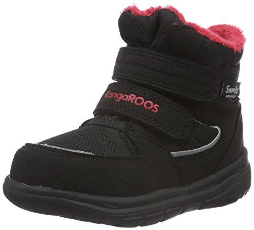 KangaROOS Sympa In 2108 B, Stivaletti Unisex - Bambini, Nero (Schwarz (Black/Flame Red 529)), 25 EU