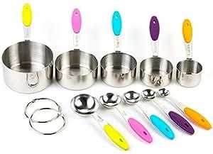 Bekith 10er Set Edelstahl Messbecher Messlöffel mit dem Silikon Griff für Küche Kochen Backen