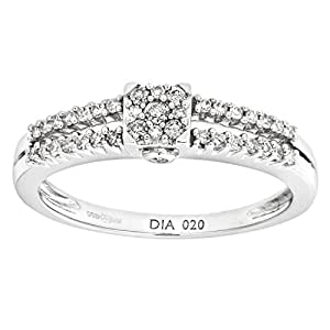 Naava 9 ct White Gold Diamond Cluster with Diamond Shoulders Women's Ring