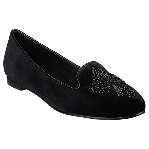 Riva Slip velours Riva Sassari à faible talon chaussures dames Noir