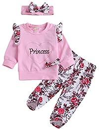 f193e85a8eab Toddler Baby Girls Princess Fall Outfit Long Sleeve Ruffle Pink  Shirts+Floral Pants+Headband