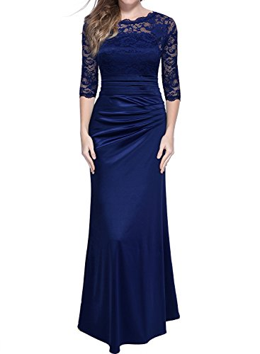 Miusol Damen Elegant Abendkleid Rundhals Dunkelblaue Spitzen Brautjungfer Cocktailkleid Vintage Cocktailkleid Langes Kleid Dunkelblau Gr.L