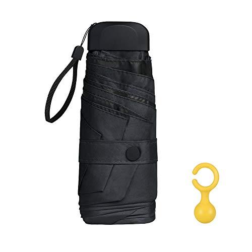 Vicloon mini ombrello portatile pieghevoli, leggero compatto antivento ombrello da viaggio con piatto manico, pioggia e uv protezione ombrello per uomo e donna (nero)