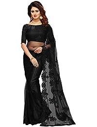 I-Brand Net Saree With Blouse Piece (ISUNSA_V_2698_Black_Free Size)