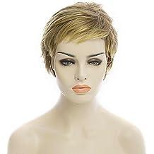 Meylee Pelucas SDFGH Natural Color Rubio corto Popular sintético peluca rizada mujer
