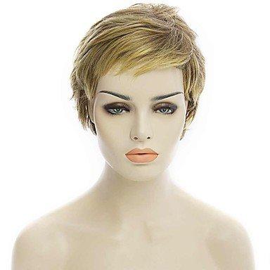 Meylee Perücken SDFGH natürliche kurze Blonde Farbe beliebte lockige Kunsthaarperücke für Frau
