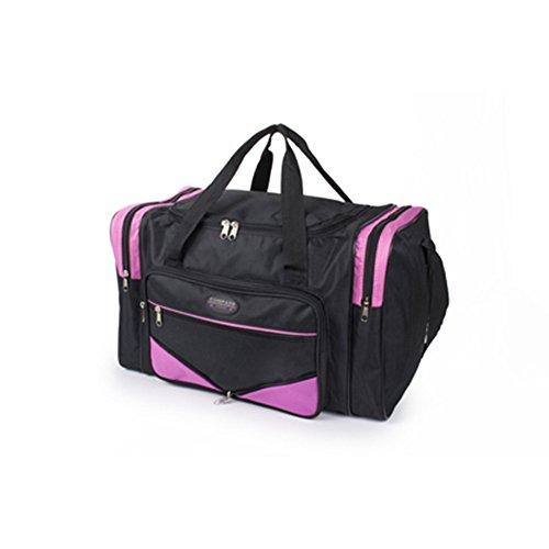 Fashion Essentials-Zwei Seitenfächer und zwei Taschen Reißverschluss holdall Taschen (BLACK GREY) BLACK PINK