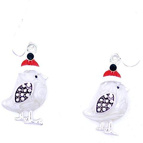 Lizzyoftheflowers–Smalto Bianco pettirosso con cappello di Natale orecchini pendenti