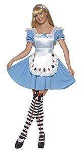 Smiffys-39474S Disfraz deNina baraja de Cartas,con Vestido, Color Azul, S-EU Tamaño 36-38 (Smiffy