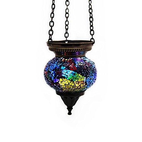 Mosaik Lampe Hängelampe Windlicht Pendelleuchte Aussenleuchte Deckenleuchte aus Glas bunt multicolor Teelichthalter Orientalisch Handarbeit dekoration - Gall&Zick