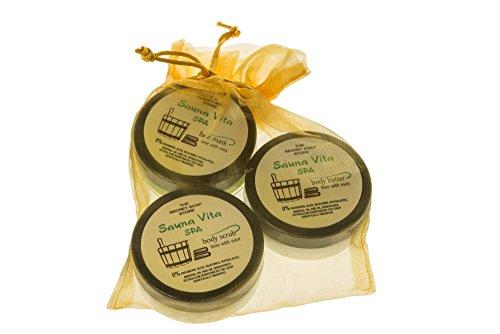 Sauna Vita Spa Set: Salz-Peeling (50 ml), Gel-Gesichtsmaske (50 ml) und Körperbutter (50 ml) mit Limette und Pfefferminze! Während und nach Saunabad zu nutzen! Alles, was Sie in Sauna brauchen!