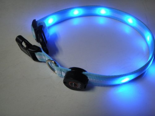 LED Flashing Lights Pet Dog Collar Adjustable LED Illumination Size Medium blue//LED Flashing Lights Haustier Hundehalsband Einstellbare LED-Beleuchtung Größe Medium blau -