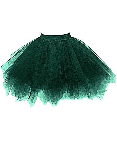 DYSS Damen 1950er Jahre Knielanger Petticoat Vintage Krinoline Tüll Ballett-Blase Tutu Rock (Hell Grün, S/M) (Futter Hell Rosa)