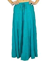 Phagun falda de la falda maxi larga playa del desgaste del verano del algodón Ropa