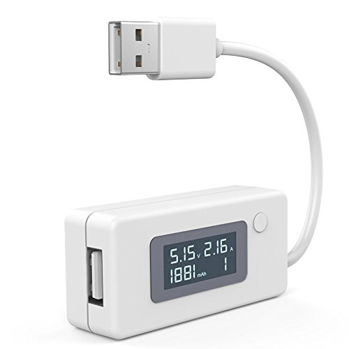 UEB USB Power Multi-Moniter Leistungsmesser/ Amperemeter,digitales Multimeter für Stromstärke+Spannung+Kapazität der Geräte mit LED Anzeige