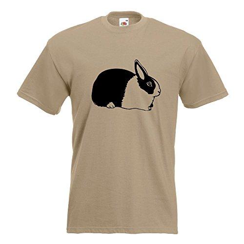 KIWISTAR - Hasen Piktogramm - Häschen - Kaninchen T-Shirt in 15 verschiedenen Farben - Herren Funshirt bedruckt Design Sprüche Spruch Motive Oberteil Baumwolle Print Größe S M L XL XXL Khaki