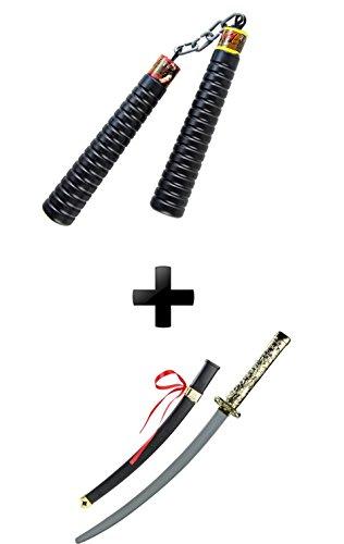 Edles Mega XXL Kinder Ninja Set + Zubehör Samurai Schwert ideal für Fasching und ()