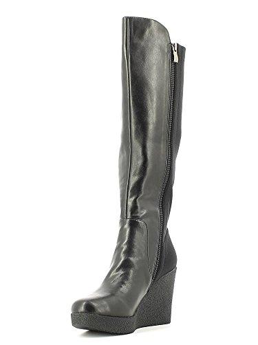 Stivali per donna CafèNoir in ecopelle nera con zeppa alta 010 NERO