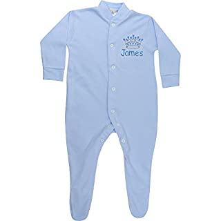 Personalised Baby Boy's Blue Crown All in One Sleepsuit (3-6 Months)