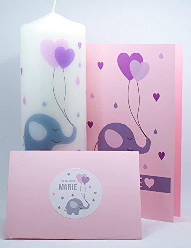 Set 1 Taufkerze / 10 Taufheft-Umschläge / 12 Sticker Elefanten Herz Mädchen rosa inkl. gratis Beschriftung mit Name und Datum