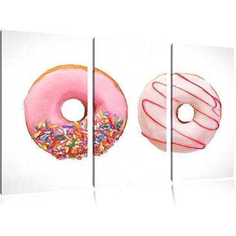 Lustrate Donuts Bunstift effetto immagine Canvas 3 PC 120x80 immagine sulla tela, XXL enormi immagini (Fragola Caffè Aromatizzato)