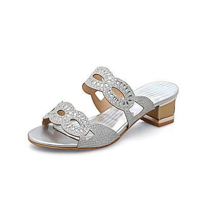 Pantofole & flip-flops Comfort estivo di Materiale personalizzato parte & abito da sera Casual Chunky tacco Strass Silver Gold a piedi US11 / EU43 / UK9 / CN44