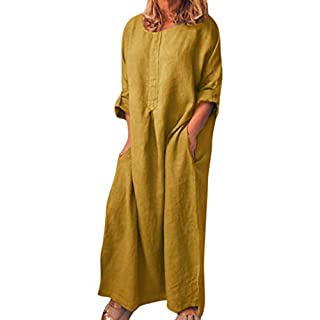 PRINCER Women Long Sleeve Dress Solid O-Neck Summer Cotton Maxi Dress with Pockets Causal Maxi Dress Plunging Neckline Bat Wing Sleeve Plus Size Plain Dress Evening Party Yellow