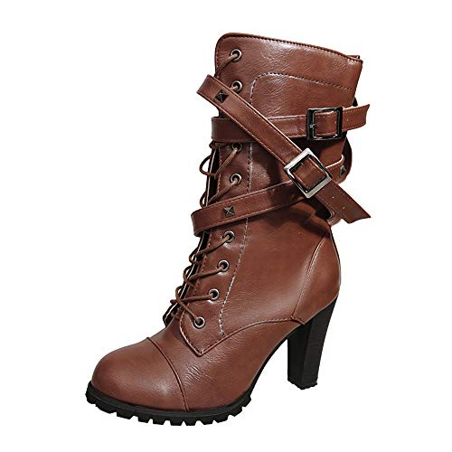 Lazzboy Women Boot Booties Ankle/Mid-Calf High Heel Pumps/Flat Leather Rivets Buckle Lace-Up/Zip Shoes