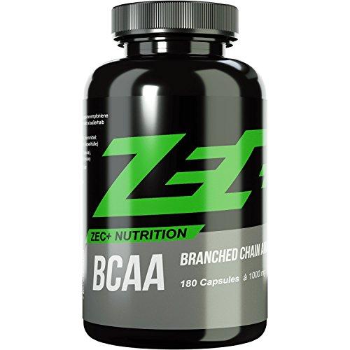 ZEC+ BCAA Kapseln | essentielle Aminosäuren | BCAAs - verzweigtkettige Aminosäuren | L-Leucin, L-Valin, L-Isoleucin im Verhältnis 2:1:1, hochdosiert | 1000 mg pro Kapsel | 180 Stück