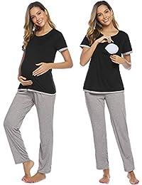 Aibrou Womens Maternity Pyjama Sets with Pockets and Adjustable Waistband, Nursing Pyjamas Breastfeeding Cotton, Pregnancy PJ Set for Nightwear Hospital Labour