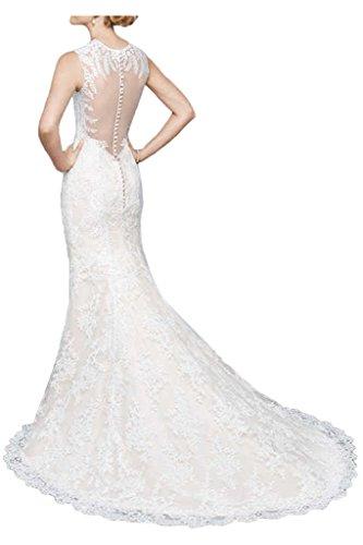 Milano Bride Brillante Etui-Linie Zwei-Traeger Hochzeitskleider Brautkleider Brautmode Spitze Elegant Schleppe Elfenbein