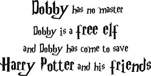 FSSS Ltd Harry Potter Dobby die Elf Zitat Wand Kunst Aufkleber Aufkleber. 2Größen. Film Kinder, schwarz, MEDIUM 90x45CM (Große Wand-aufkleber-zitate)
