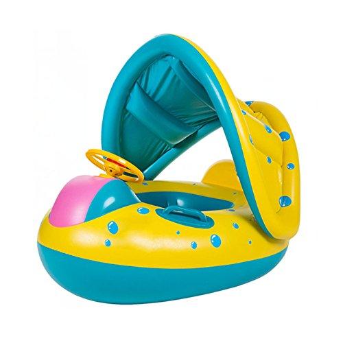 Bébé de natation flotteur avec gonflable de piscine avec pare-soleil Flotte Bateau des flottant jouet Vert