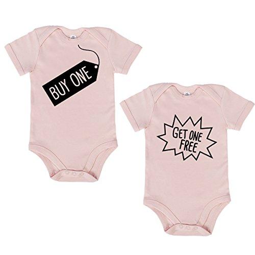 JUNIWORDS Babybody Kurzarm mit tollen Motiven für Zwillinge - 2er Set - 100% Baumwolle - Wähle Motiv, Farbe & Größe -