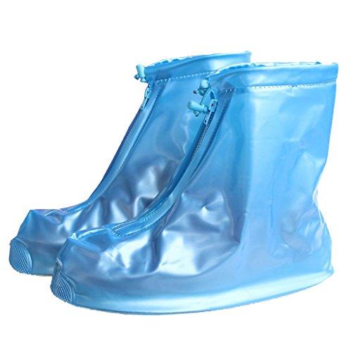 HevaKa Mode blau wasserdichte Schuhe Cover wiederverwendbare RV Regenschutz Schuhe Abdeckungen hoch elastische Gewebe verdicken alleinige rutschsichere Schuhe verschleißfeste Abdeckungen - (Kostüm Easy M&m)