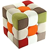 Versa Red Patchwork - Taburete cubo, multicolor