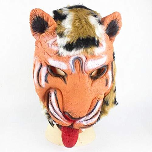 Gesicht Für Geist Mumie Kostüm Erwachsene - WSJDE LionTigerWolf Handschuhe Wolf Kopf Latex Maske voll Gesicht Erwachsene Tier Maske Halloween Maskerade kostüm Party Cosplay kostüm, lTiger