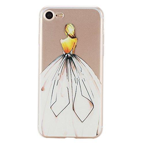 Etsue Doux Protecteur Coque pour iPhone 7,TPU Matériau Frame est Transparent Soft Cover pour iPhone 7,Coloré Motif par Dessin de Mode Case Coque pour iPhone 7 + 1 x Bleu stylet + 1 x Bling poussière p Fille Dorsum
