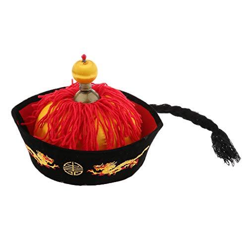 F Fityle Chinese Kostüm Chinesenhut für Herren Karneval Fasching Party China Kaiser - 54 cm