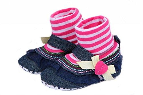 Smile YKK Lace Deko Mädchen Schuhsocke Krabbelschuhe Lauflernschuhe Pink Lace 13 Schwanz Lace