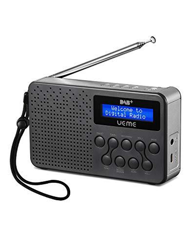UEME Tragbares DAB+ DAB FM-Radio mit Lautsprecher, eingebauter Akku (Grau/Silber)
