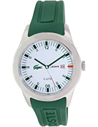 amazon co uk lacoste watches lacoste men s 42mm green silicone band steel case s sapphire quartz white dial analog watch 2010626
