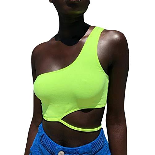 Wawer Damen Top Mode-Frauen-beiläufige Feste Spitze Up Ärmel Einer Schulter Weste Camis Short Tops, Lose Ärmellose Sling T-Shirts Sexy Schulterfrei Tops Fluoreszierende Farbe -