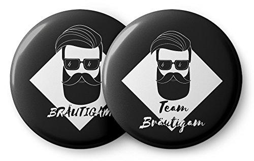 Spielehelden JGA Button Set für Männer im Vintage Style – 12 Coole Buttons für den Bräutigam und Seine Crew zur Bachelor Party - JGA Buttons Set Junggesellenabschied
