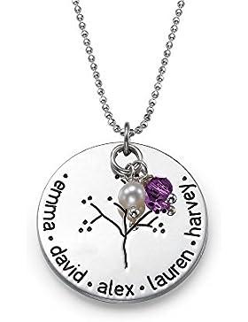 925er Silber Baum Kette (Stammbaum) - Schmuck für Mütter - Personalisiert mit Ihren eigenen 5 Wunschnamen