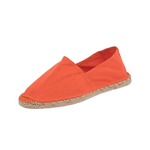 Japanwelt Espadrilles Unicolor Canvas Orange Damen und Herren Größe 42 Unisex Leinen Slipper (Futon Moderne)
